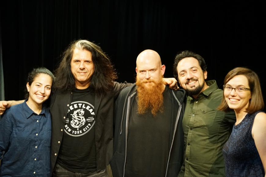Alex Skolnick with Ray Suhy and Lessonface staffmembers