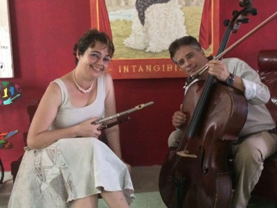Celina Charlier, flute, and Fábio Pellegatti, cello