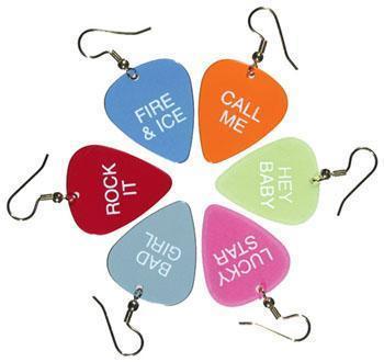 Picks as earrings for group guitar class for women